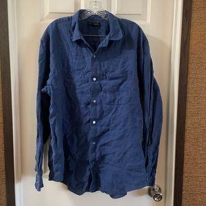 Banana Republic Blue Linen Button Up Shirt Size XL